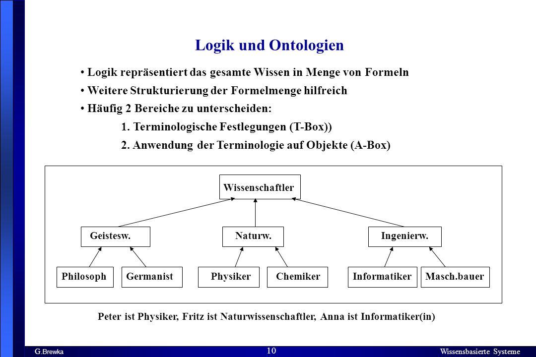 Logik und Ontologien Logik repräsentiert das gesamte Wissen in Menge von Formeln. Weitere Strukturierung der Formelmenge hilfreich.