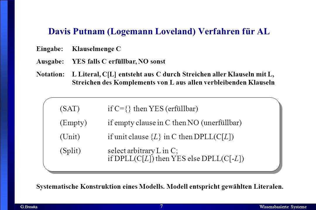 Davis Putnam (Logemann Loveland) Verfahren für AL