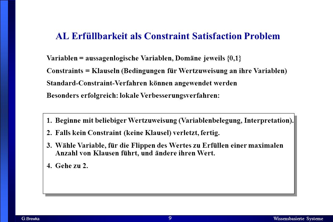 AL Erfüllbarkeit als Constraint Satisfaction Problem
