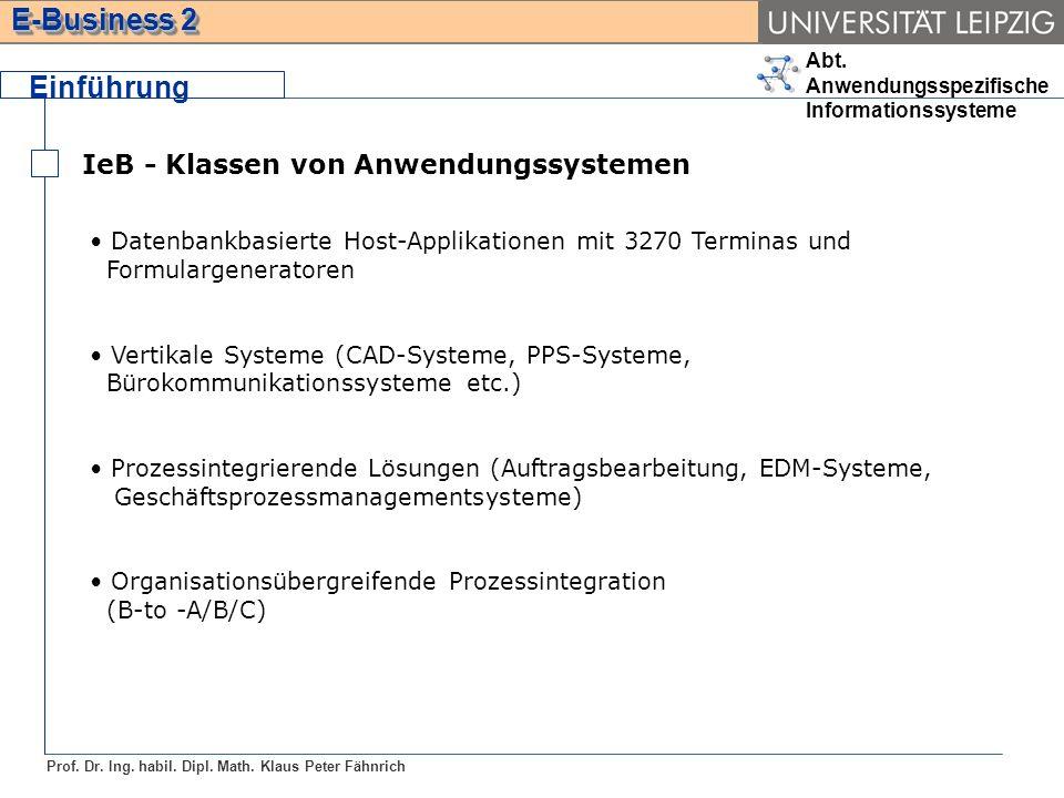 Einführung IeB - Klassen von Anwendungssystemen