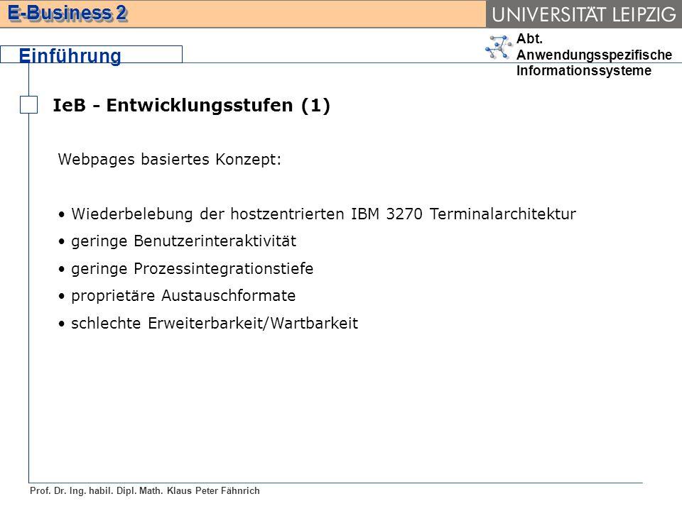 Einführung IeB - Entwicklungsstufen (1) Webpages basiertes Konzept: