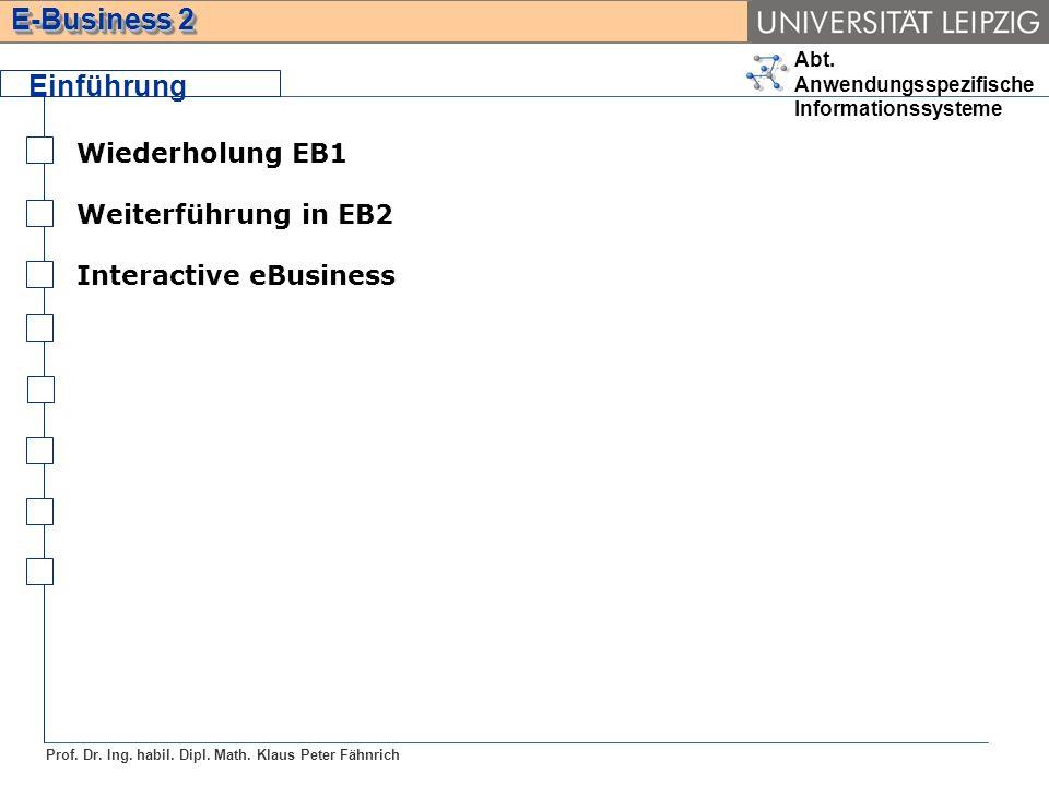 Einführung Wiederholung EB1 Weiterführung in EB2 Interactive eBusiness