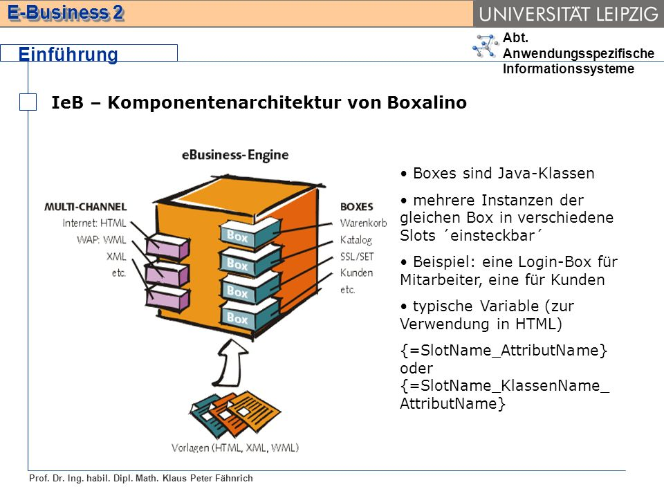Einführung IeB – Komponentenarchitektur von Boxalino