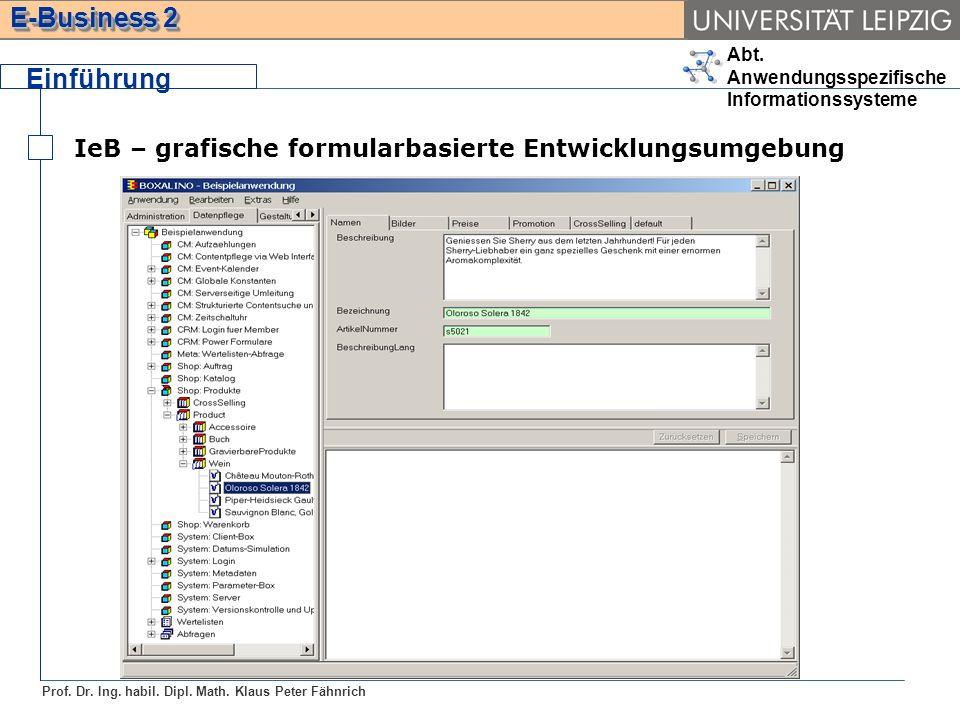 Einführung IeB – grafische formularbasierte Entwicklungsumgebung