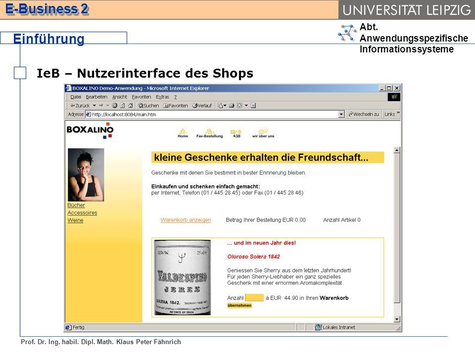 Einführung IeB – Nutzerinterface des Shops