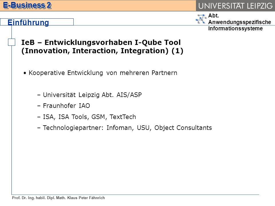 Einführung IeB – Entwicklungsvorhaben I-Qube Tool