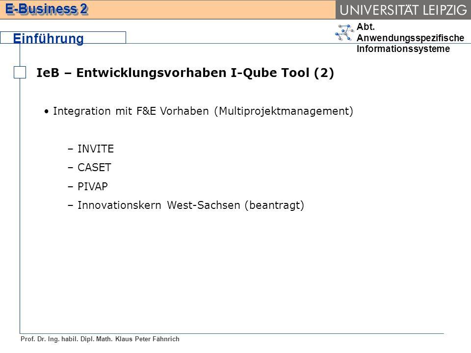 Einführung IeB – Entwicklungsvorhaben I-Qube Tool (2)