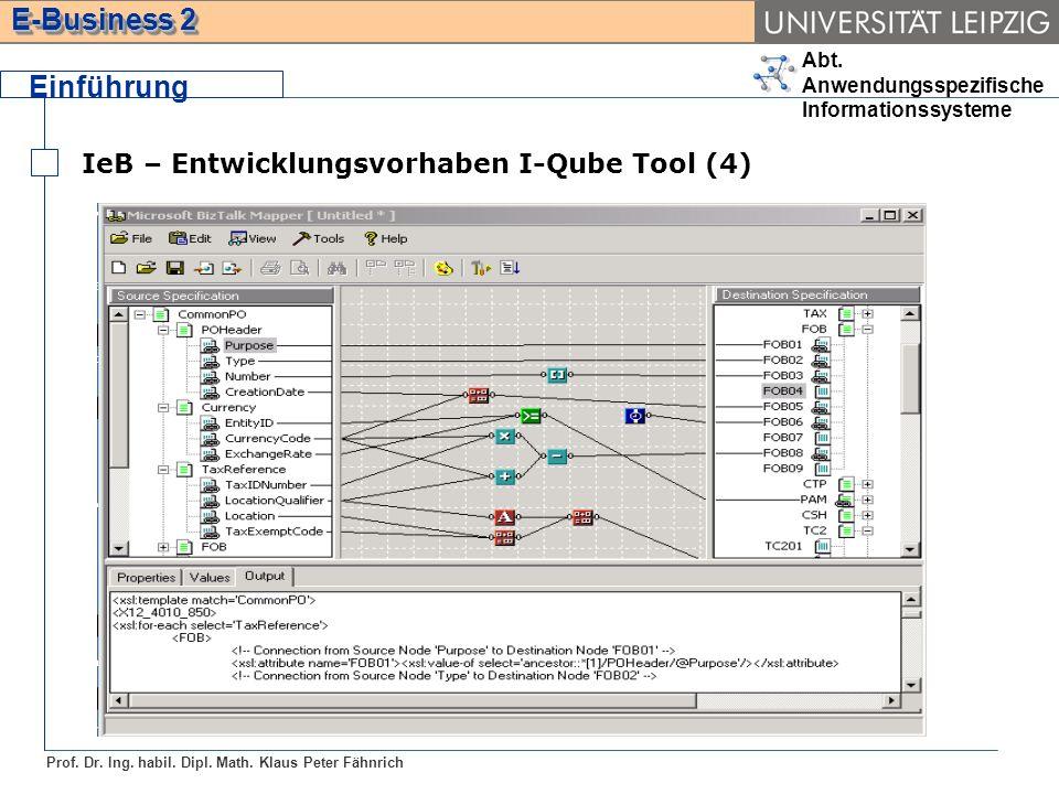 Einführung IeB – Entwicklungsvorhaben I-Qube Tool (4)