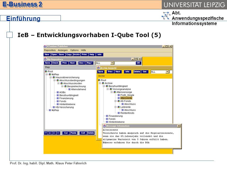 Einführung IeB – Entwicklungsvorhaben I-Qube Tool (5)