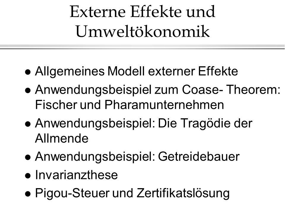 Externe Effekte und Umweltökonomik