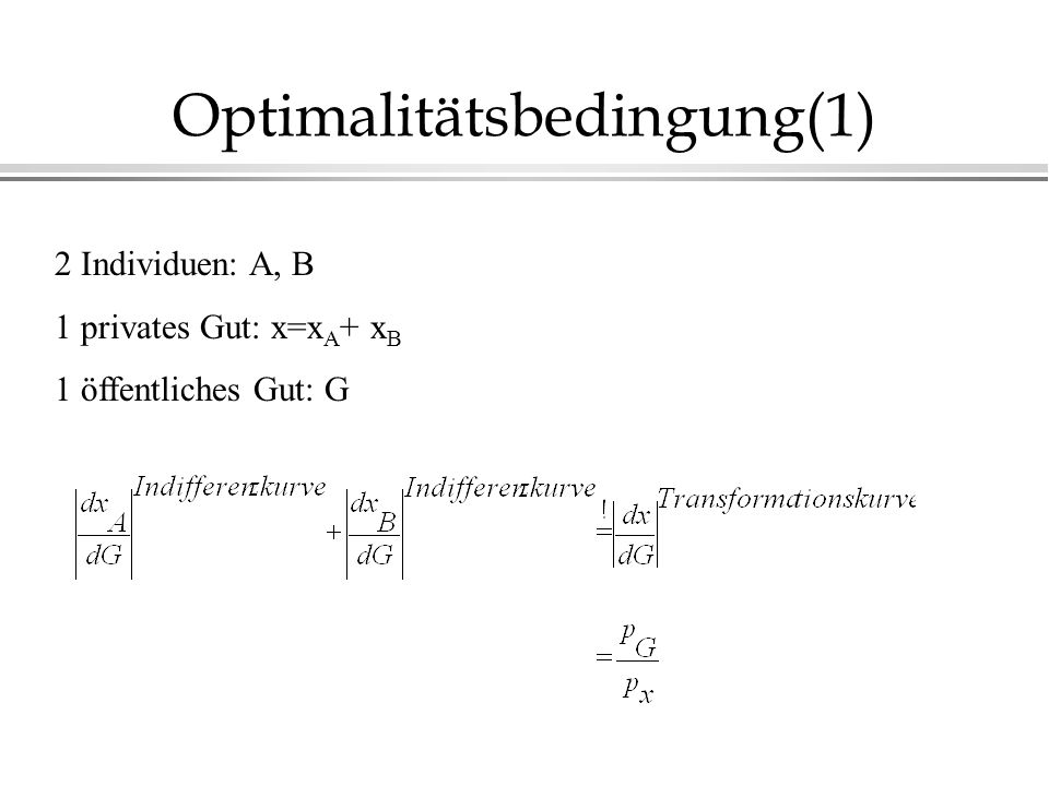 Optimalitätsbedingung(1)