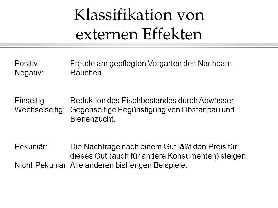 Klassifikation von externen Effekten