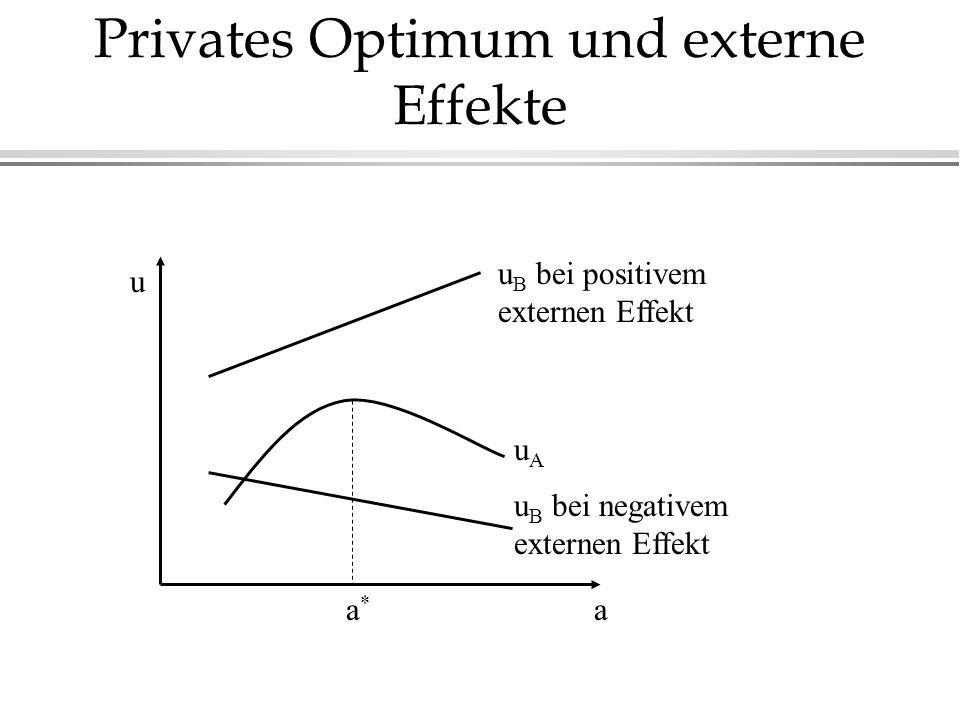 Privates Optimum und externe Effekte