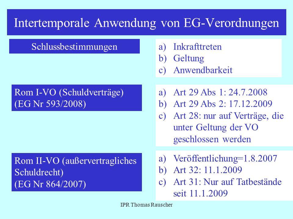 Intertemporale Anwendung von EG-Verordnungen
