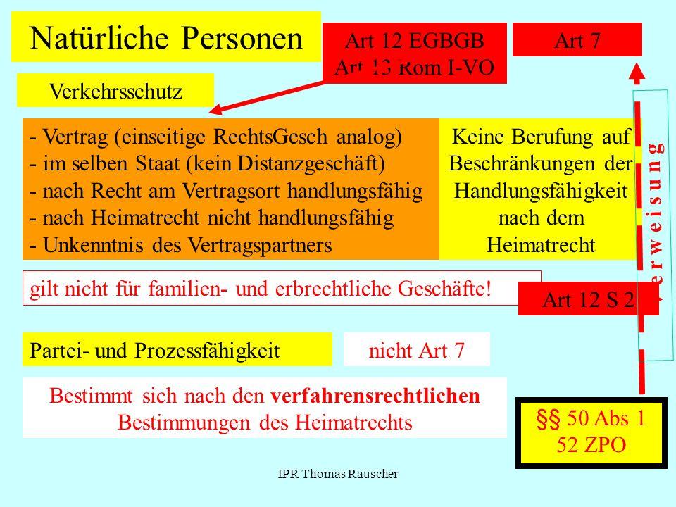 Natürliche Personen Art 12 EGBGB Art 13 Rom I-VO Art 7 Verkehrsschutz