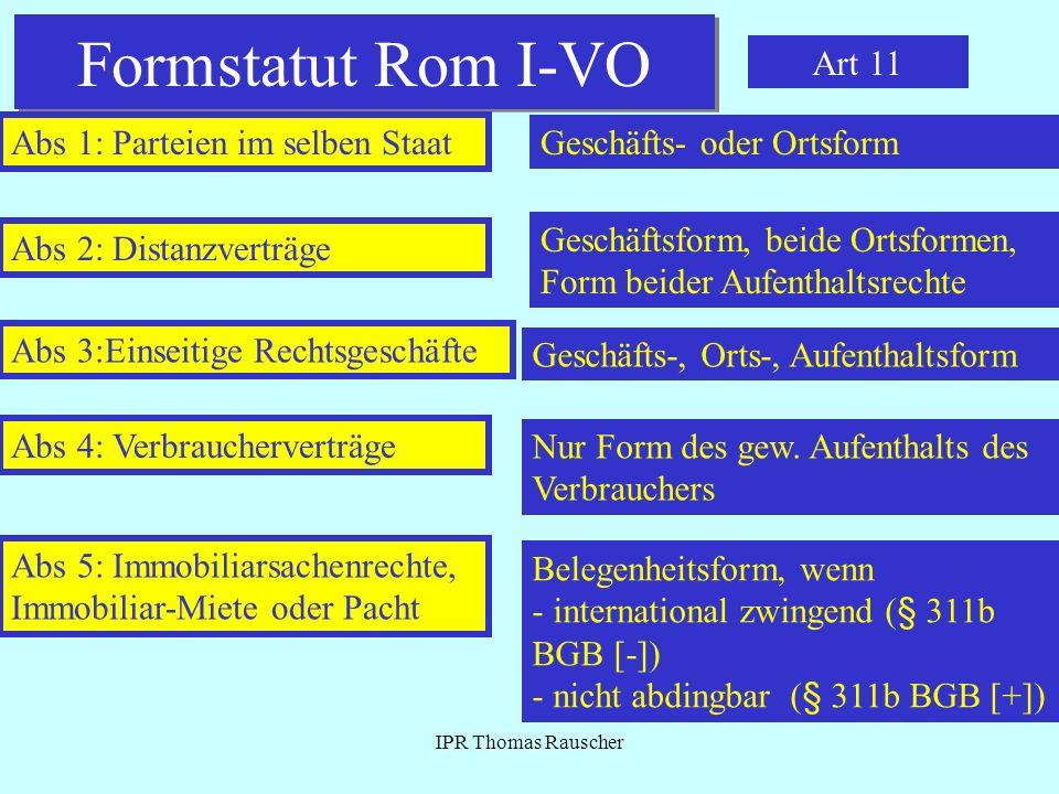 Formstatut Rom I-VO Art 11 Abs 1: Parteien im selben Staat