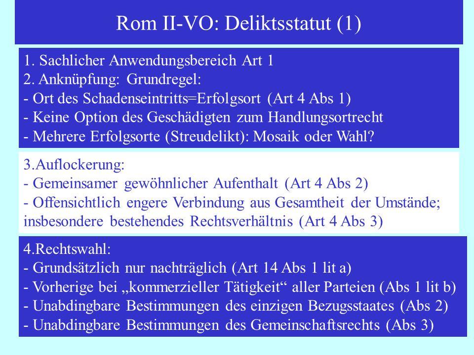 Rom II-VO: Deliktsstatut (1)