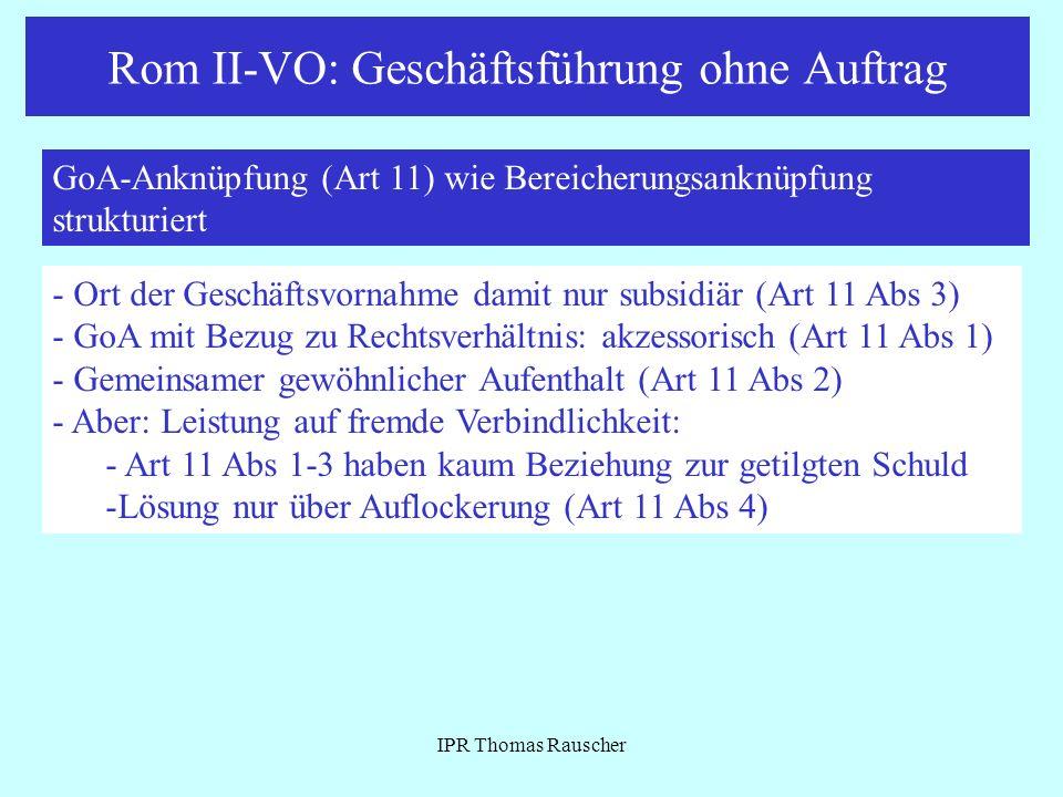Rom II-VO: Geschäftsführung ohne Auftrag