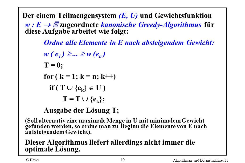 Der einem Teilmengensystem (E, U) und Gewichtsfunktion