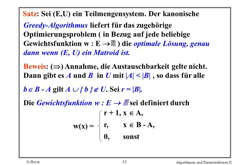 Satz: Sei (E,U) ein Teilmengensystem. Der kanonische