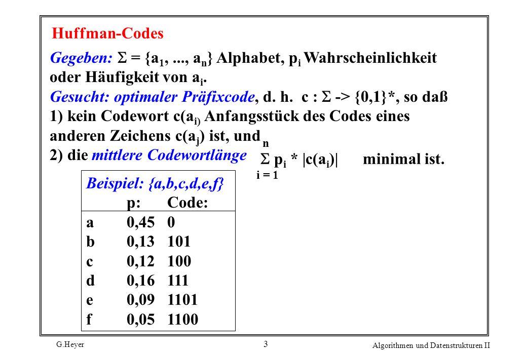 Gesucht: optimaler Präfixcode, d. h. c : S -> {0,1}*, so daß