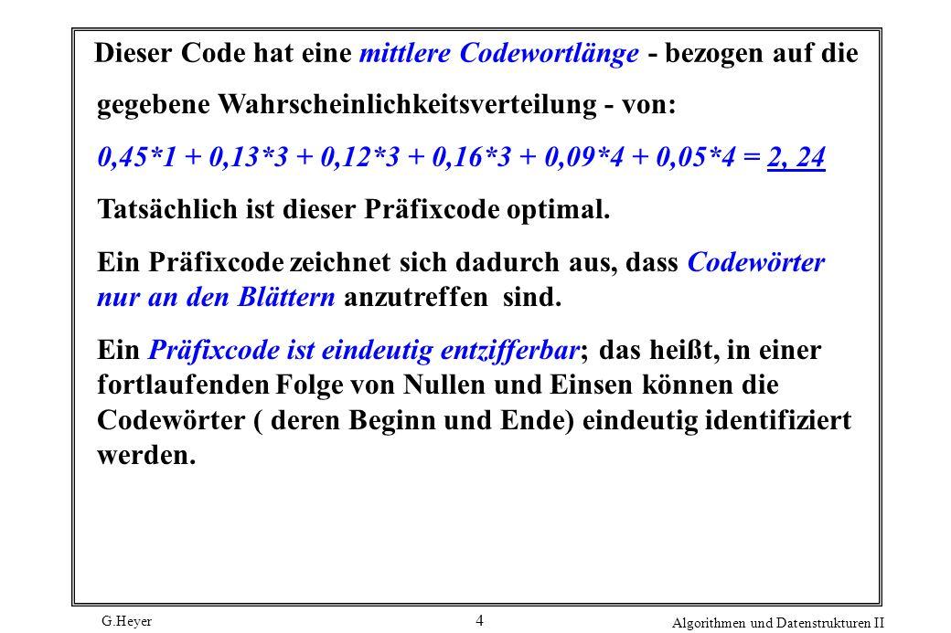 Dieser Code hat eine mittlere Codewortlänge - bezogen auf die