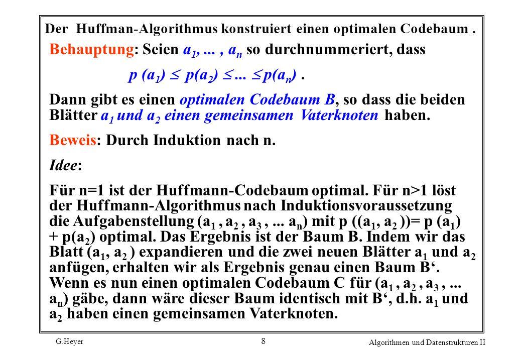 Der Huffman-Algorithmus konstruiert einen optimalen Codebaum .