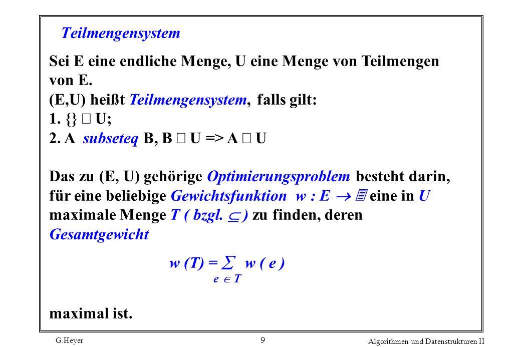 Sei E eine endliche Menge, U eine Menge von Teilmengen von E.