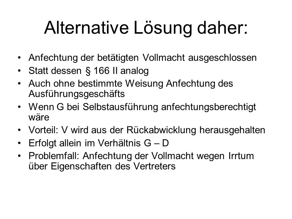 Alternative Lösung daher: