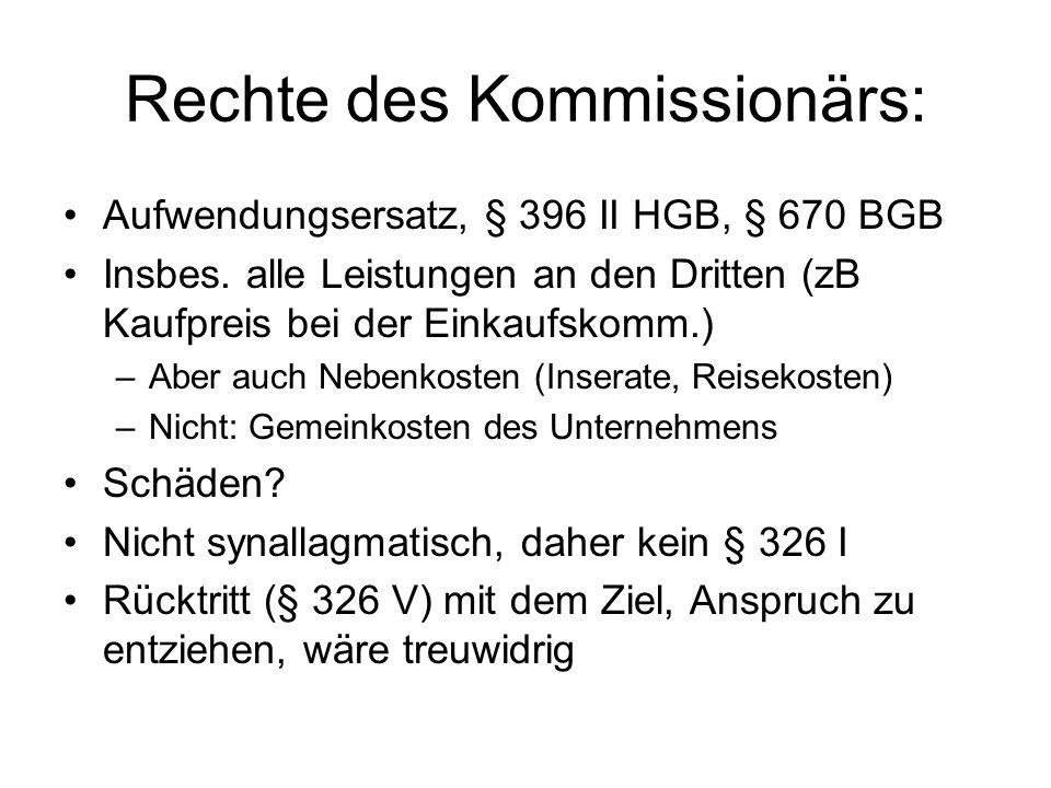 Rechte des Kommissionärs: