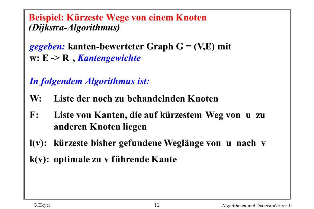 Beispiel: Kürzeste Wege von einem Knoten (Dijkstra-Algorithmus)