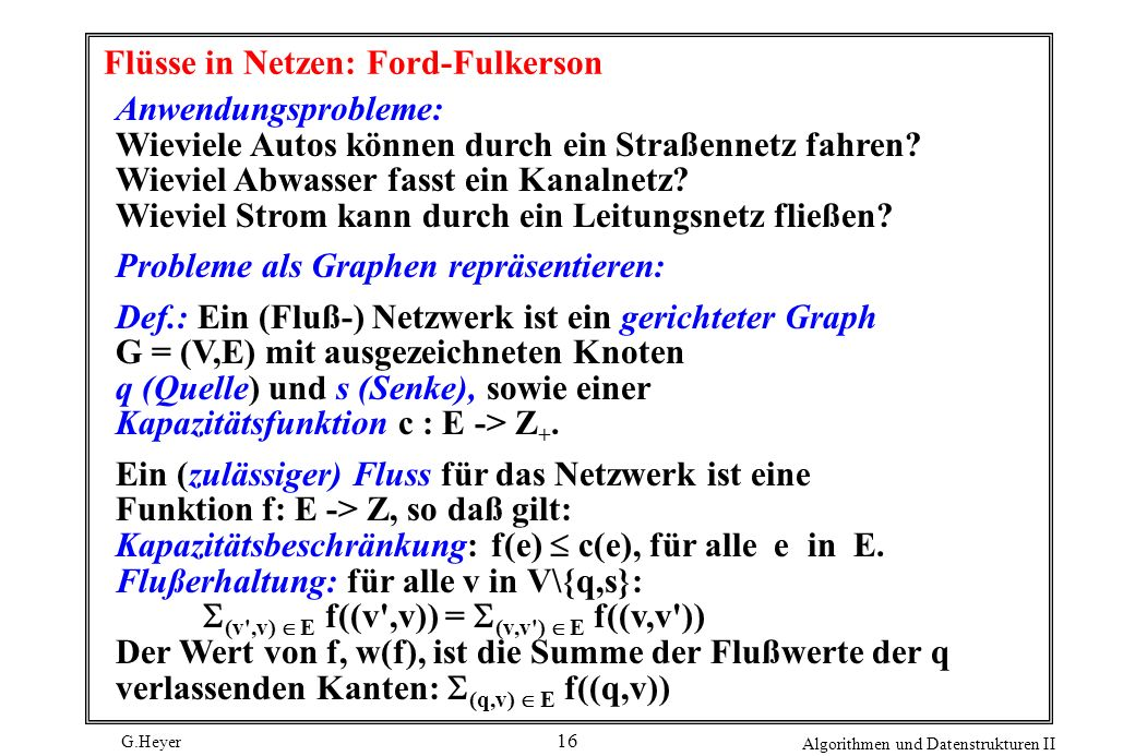 Flüsse in Netzen: Ford-Fulkerson