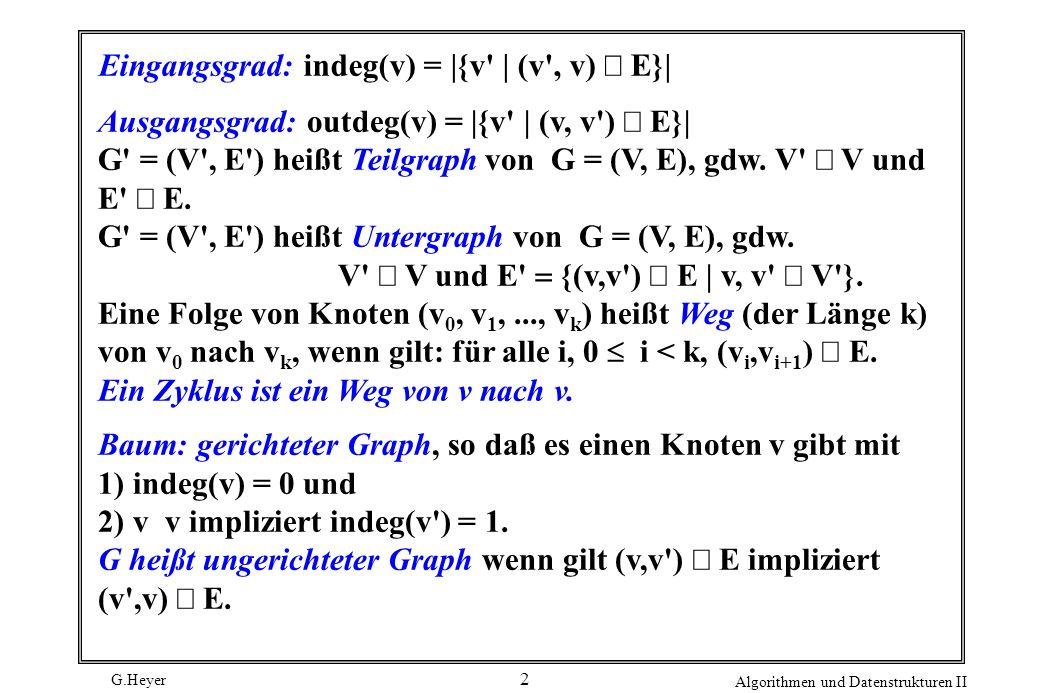 Eingangsgrad: indeg(v) = |{v | (v , v) Î E}|