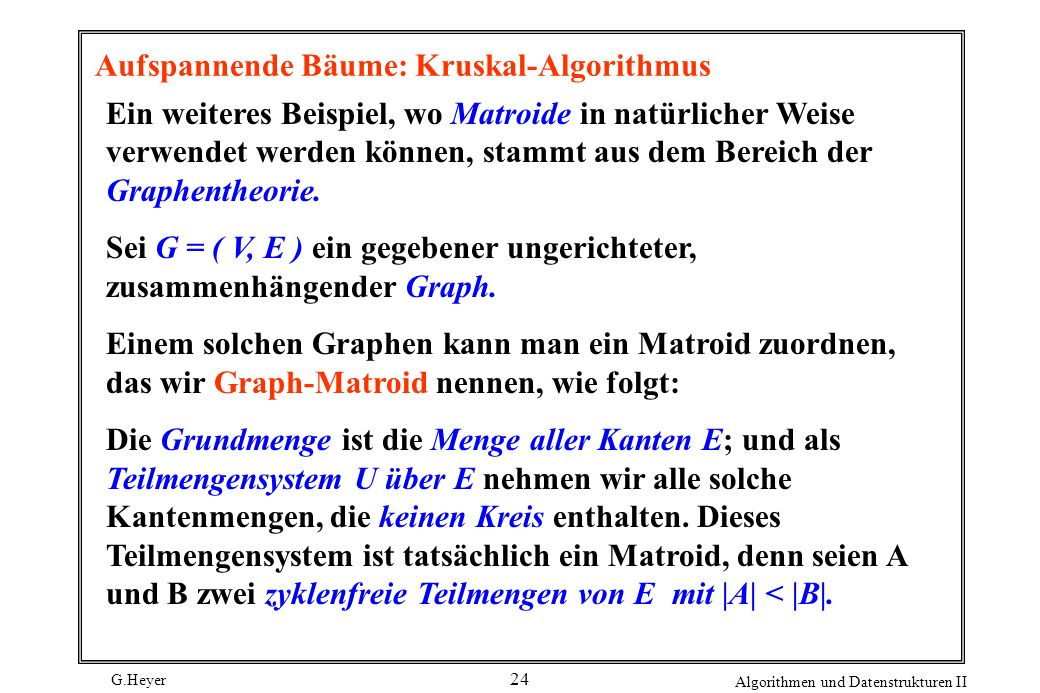 Aufspannende Bäume: Kruskal-Algorithmus
