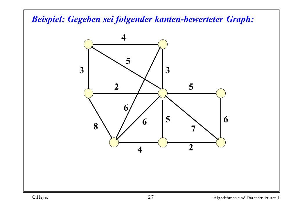 Beispiel: Gegeben sei folgender kanten-bewerteter Graph: