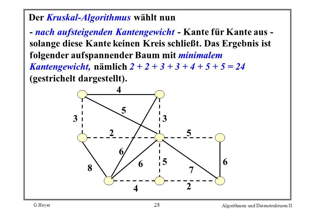 Der Kruskal-Algorithmus wählt nun