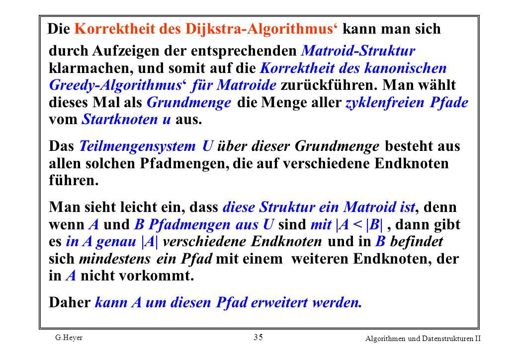 Die Korrektheit des Dijkstra-Algorithmus' kann man sich