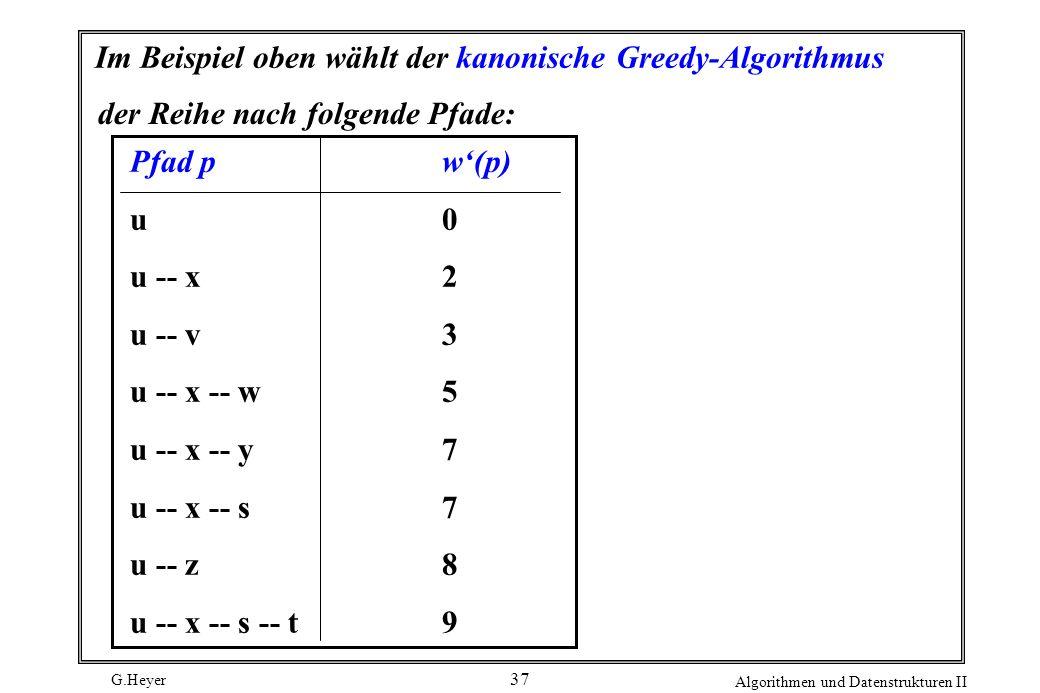 Im Beispiel oben wählt der kanonische Greedy-Algorithmus