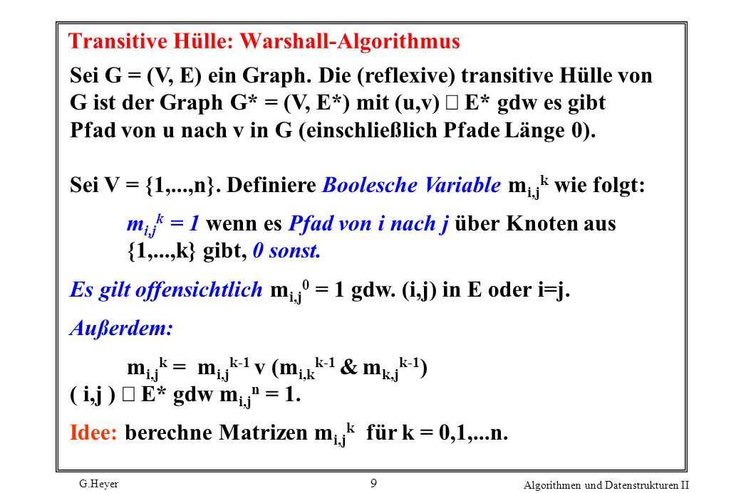 Transitive Hülle: Warshall-Algorithmus