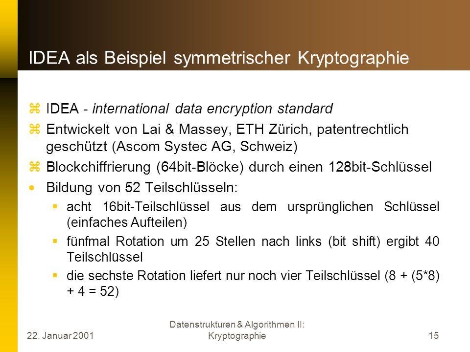 IDEA als Beispiel symmetrischer Kryptographie