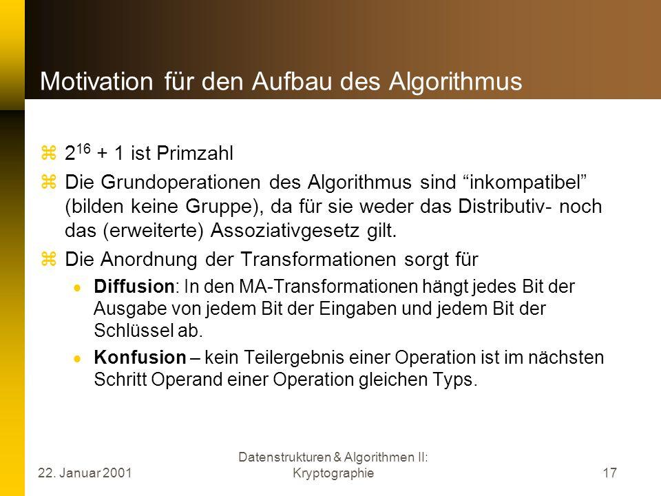 Motivation für den Aufbau des Algorithmus