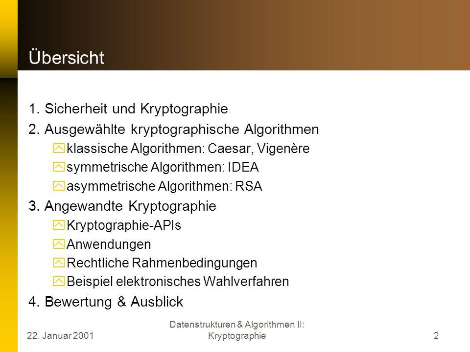 Datenstrukturen & Algorithmen II: Kryptographie