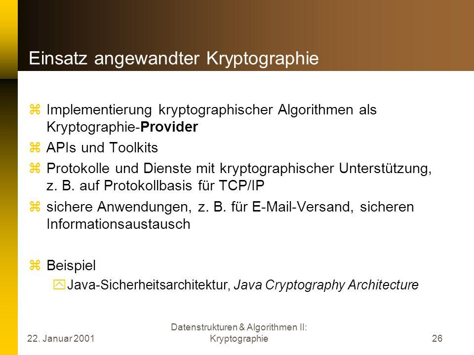 Einsatz angewandter Kryptographie