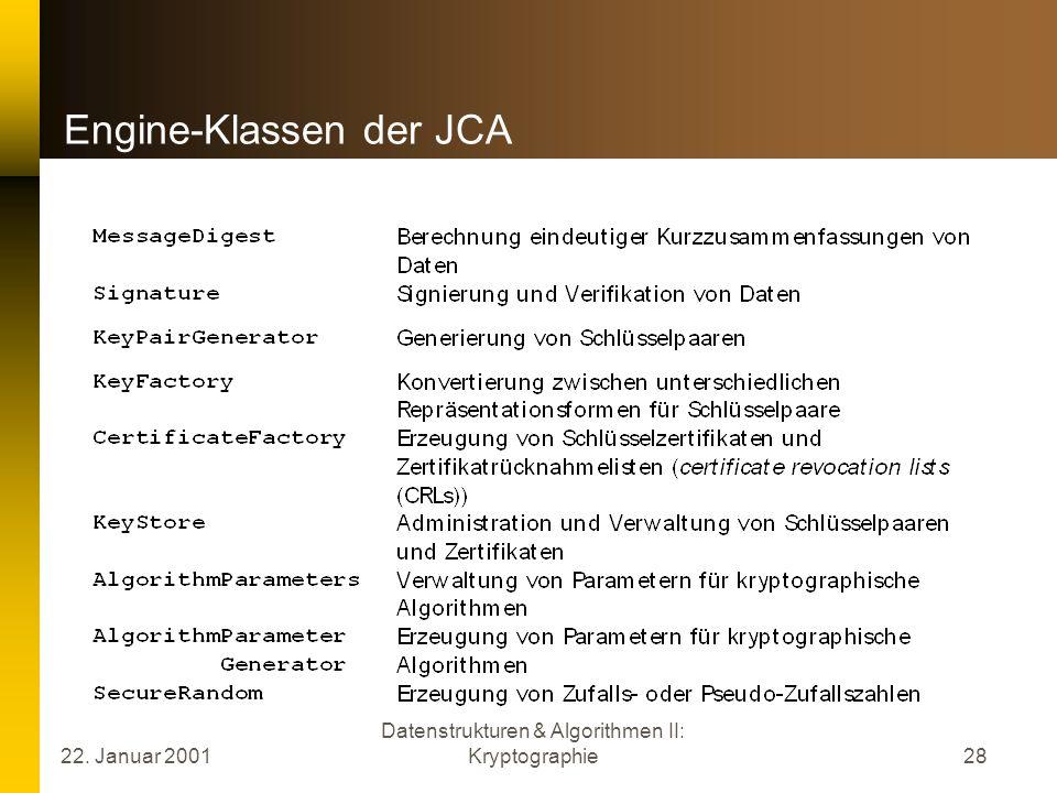 Engine-Klassen der JCA