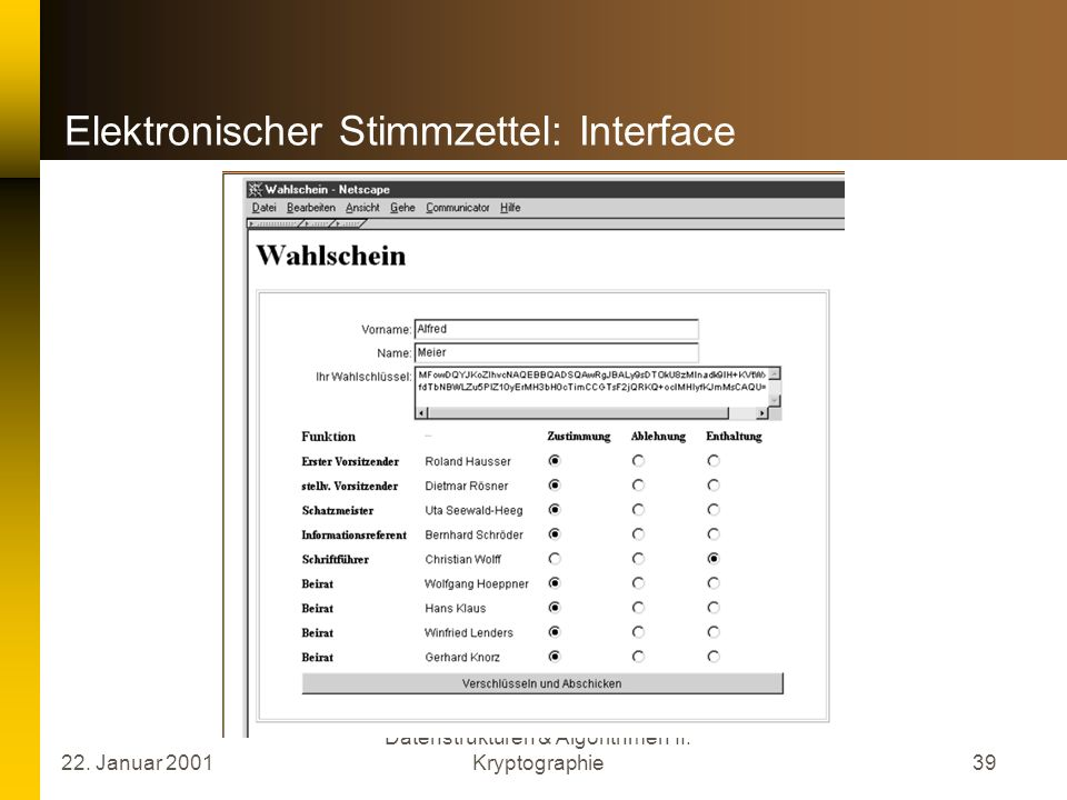 Elektronischer Stimmzettel: Interface