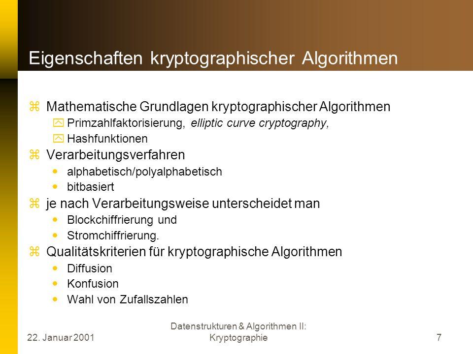Eigenschaften kryptographischer Algorithmen