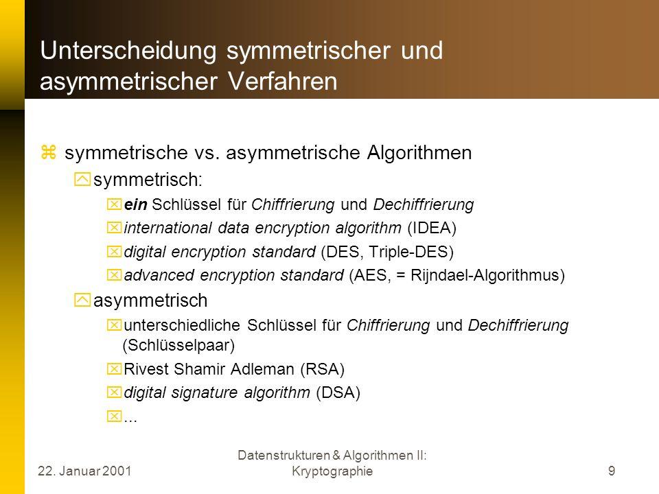 Unterscheidung symmetrischer und asymmetrischer Verfahren
