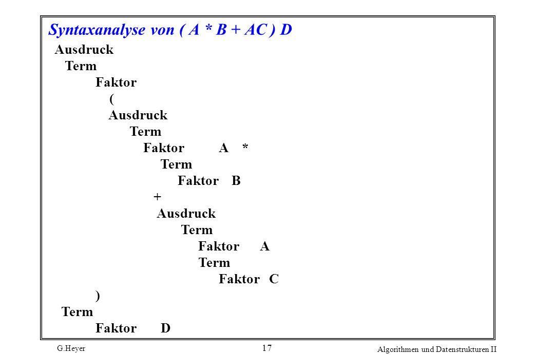 Syntaxanalyse von ( A * B + AC ) D