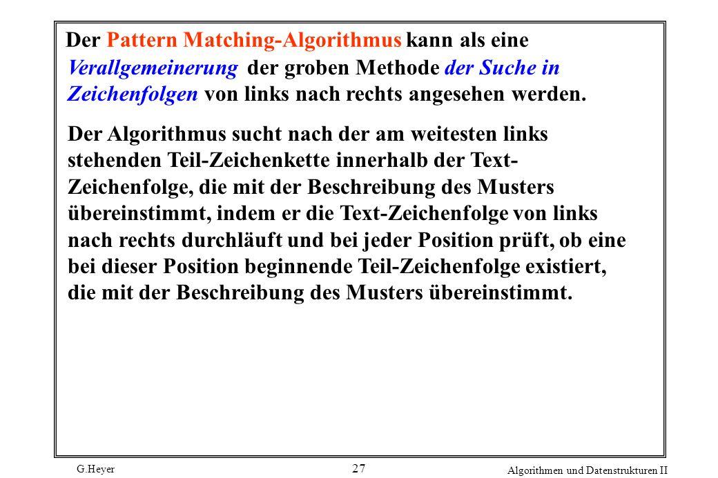 Der Pattern Matching-Algorithmus kann als eine