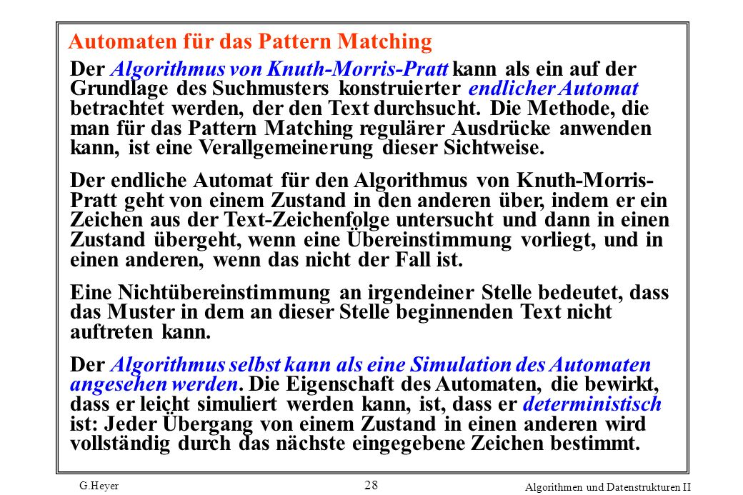 Automaten für das Pattern Matching